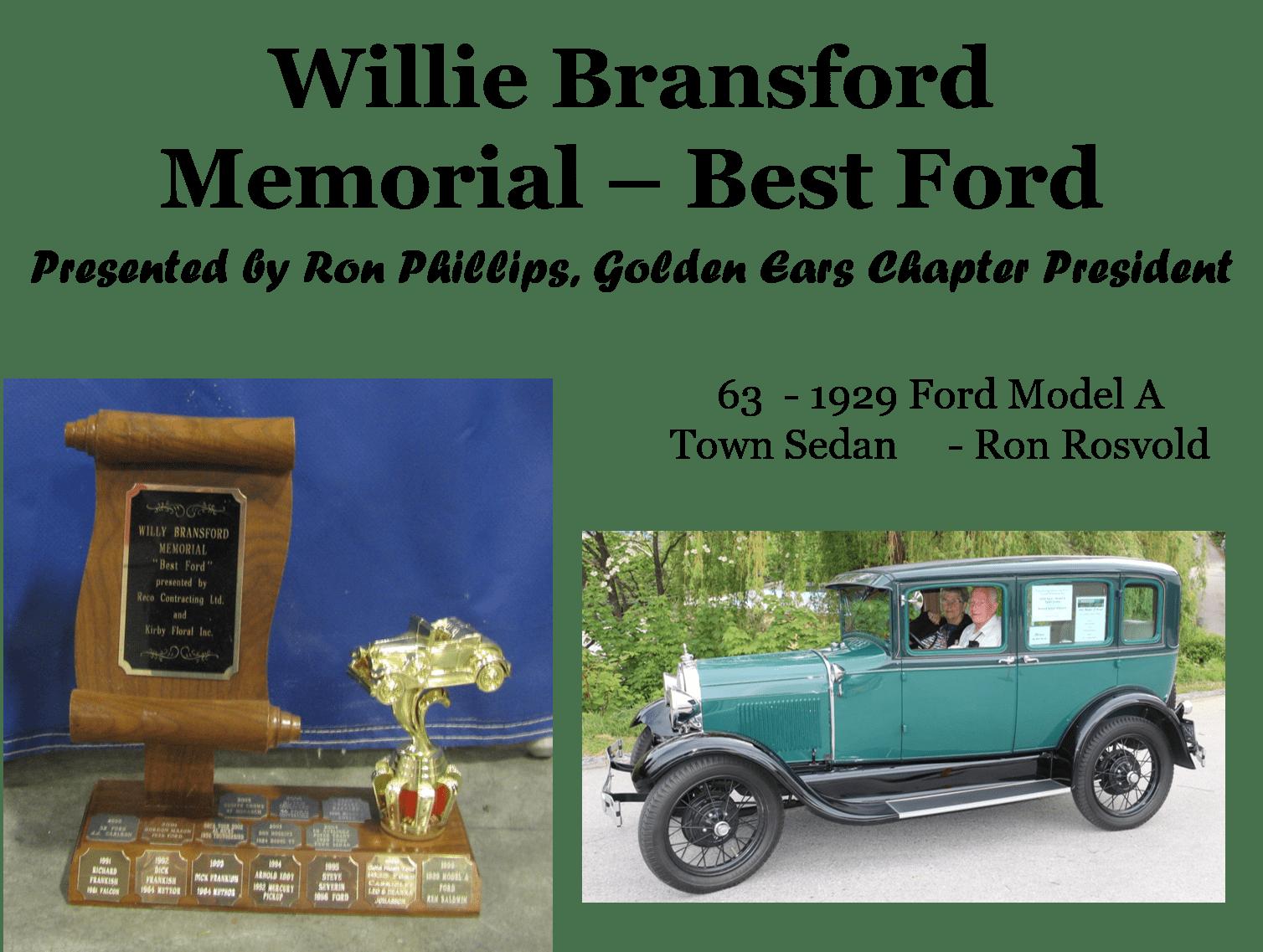 Willie Bransford Memorial - Best Ford